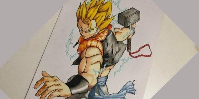 Dragon Ball Super: Gogeta Meets Thor's Hammer in This Marvel Mash-Up