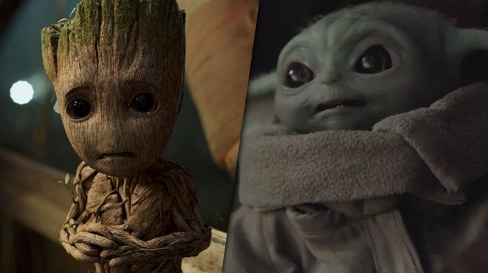baby groot baby yoda fight