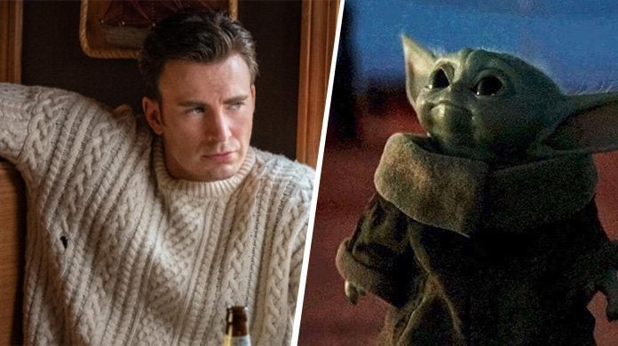 chris evans knives out sweater baby yoda