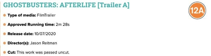 Ghostbusters 2020 Afterlife Trailer Rating