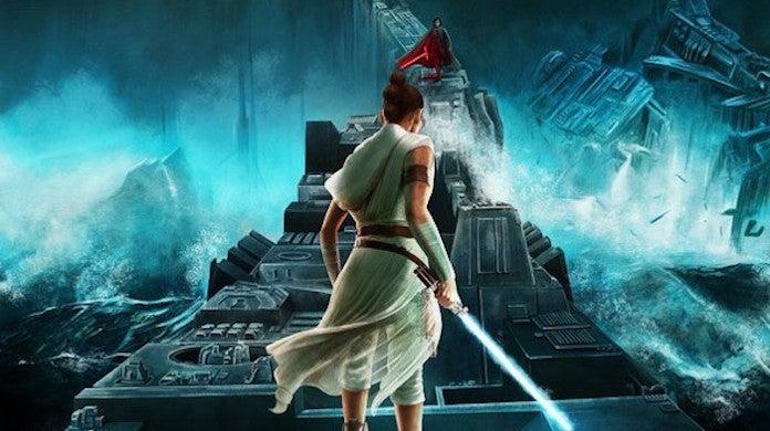 Star Wars Rise Skywalker Rey Kylo Ren Death Star Duel Poster by Adam Stothard