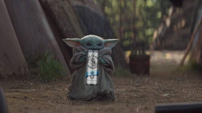 star wars the mandalorian baby yoda white claw