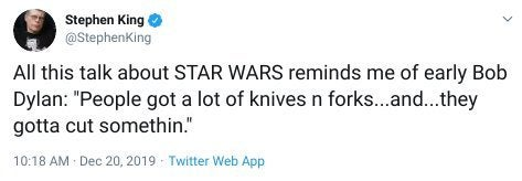 stephen king star wars the rise of skywalker tweet