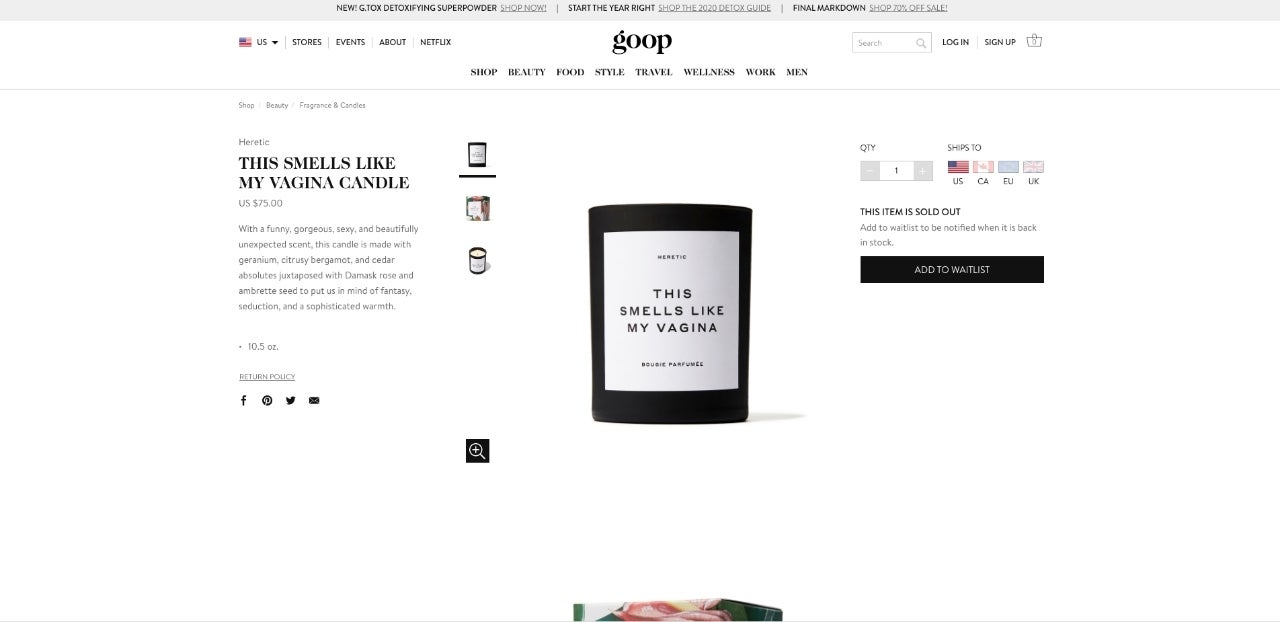 goop vagina candle sold out