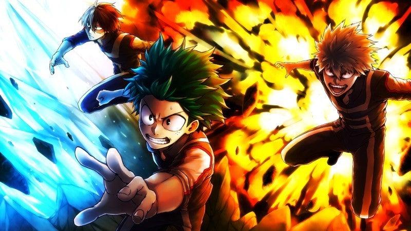 My Hero Academia Deku Baku Shoto Todoroki Team Up