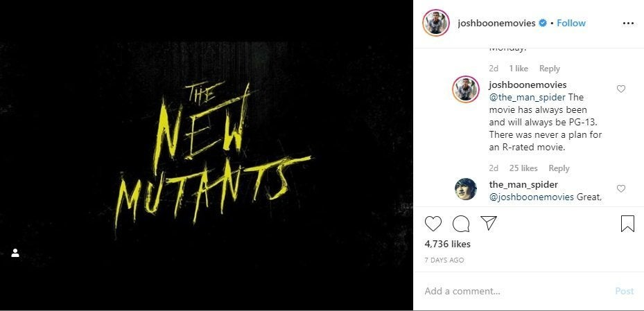 the new mutants r rated josh boone pg-13