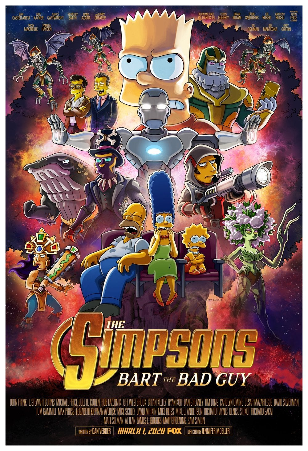 the simpsons marvel avengers endgame bart the bad guy poster