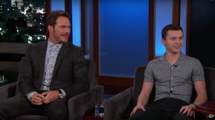 tom holland chris pratt jimmy kimmel live