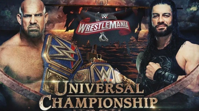 WWE-WrestleMania-Goldberg-Roman-Reigns-Official