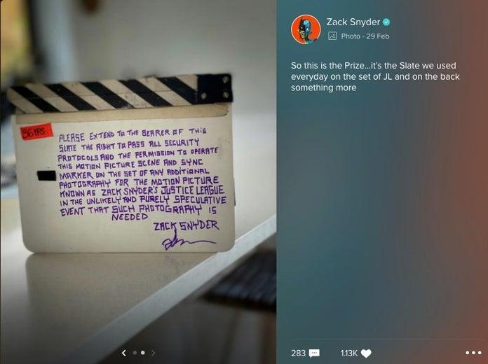 """zack snyder snyder cut tease slate 1209171 - Zack Snyder comparte la claqueta de la """"Liga de la Justicia"""", especulando con la liberación del corte de Snyder"""