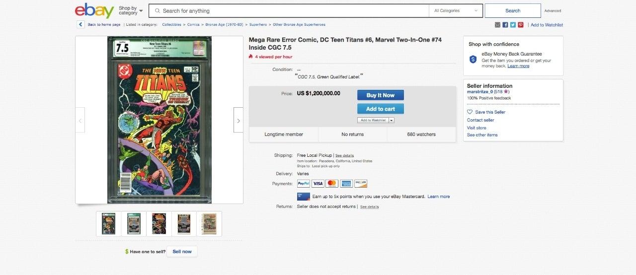New Teen Titans #6 ebay listing