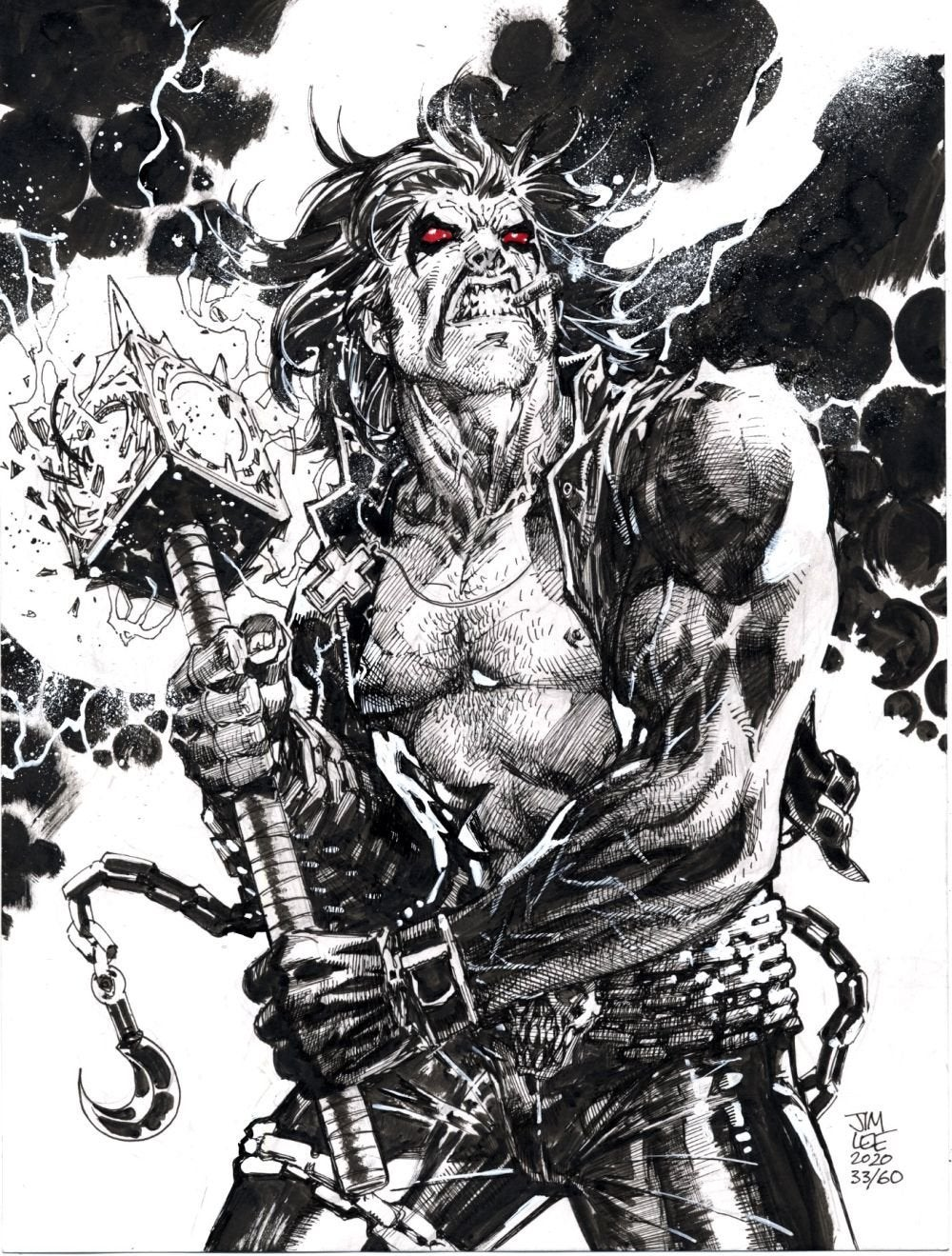 jim lee exclusive sketch of lobo