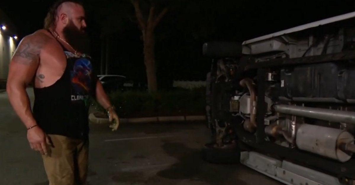 WWE SmackDown Braun Strowman Flips Van