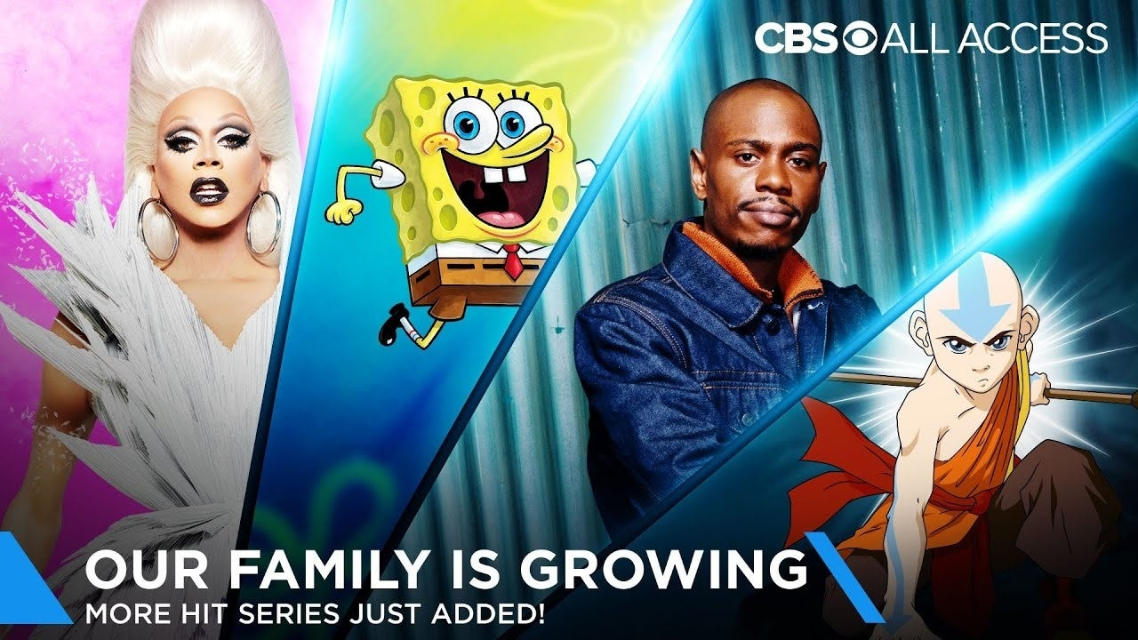 cbs all access new content spongebob chappelle