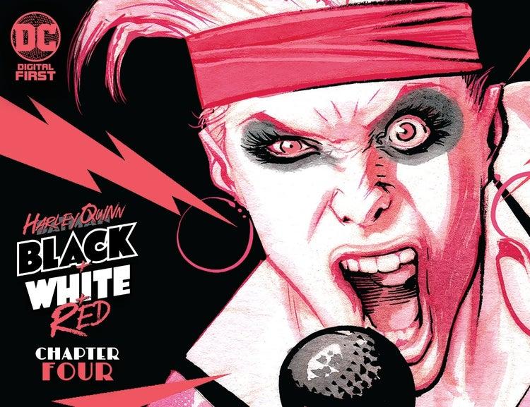 harley quinn black white red chapter 4 cover