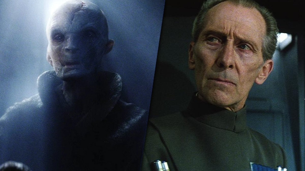 supreme leader snoke star wars grand moff tarkin peter cushing