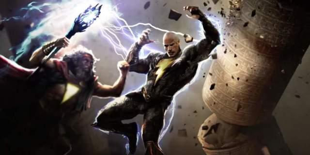 black adam dwayne johnson shazam battle concept art dc fandome