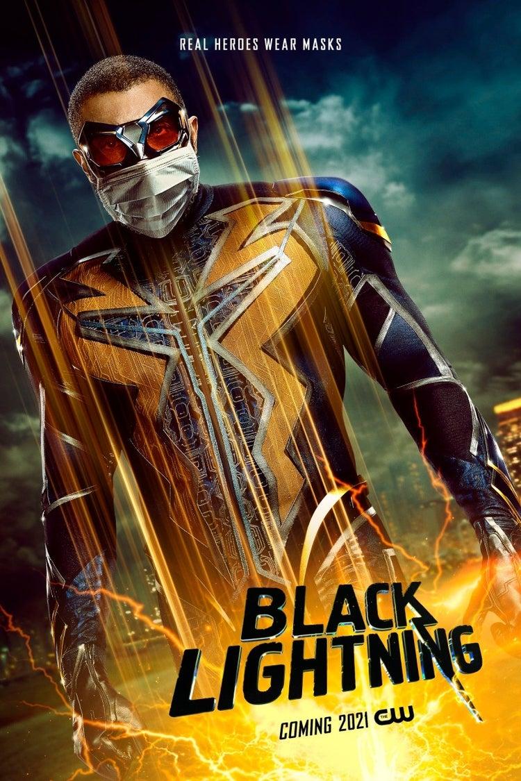 black lightning face mask poster