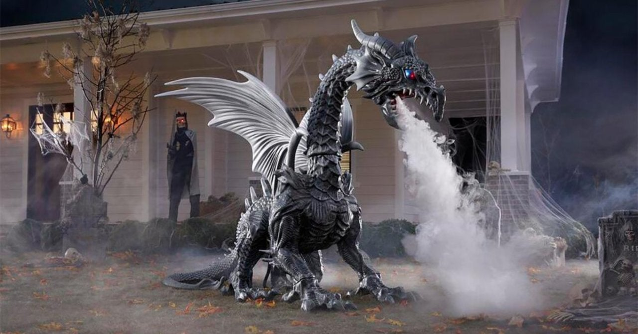 This Giant Animated Fog Breathing Dragon Decoration Will