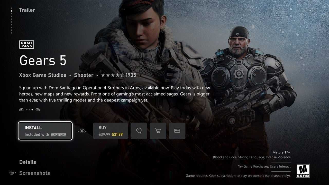 new xbox game page