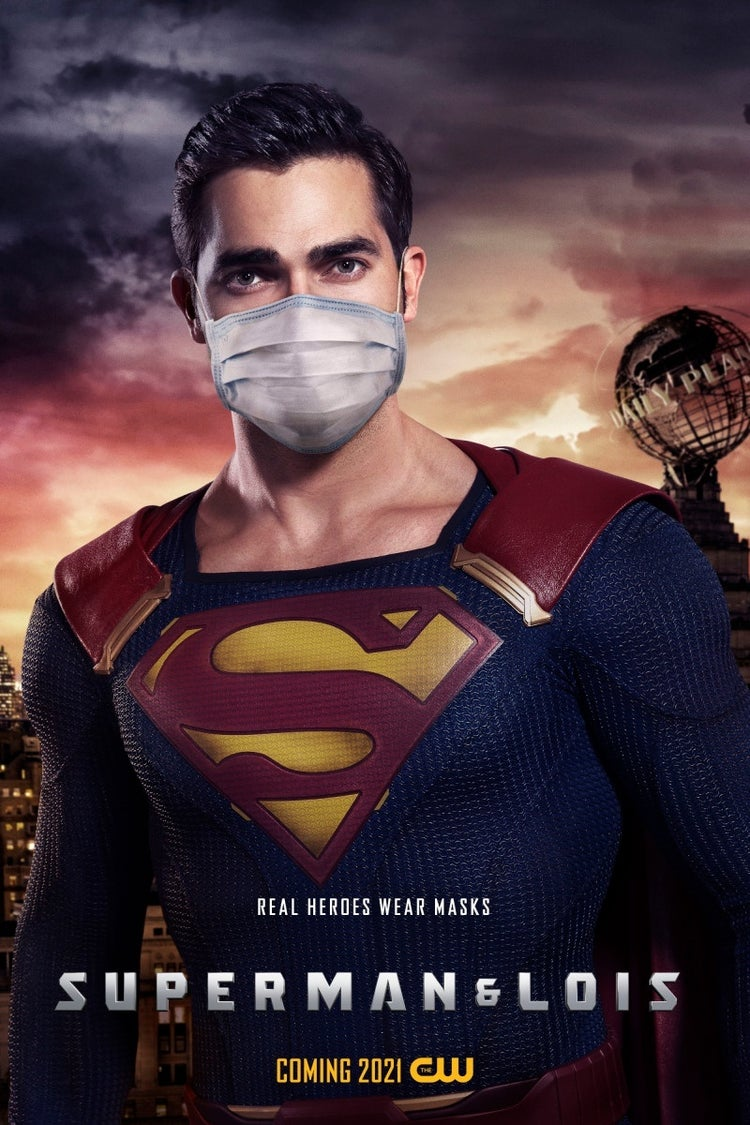 superman and lois face mask poster