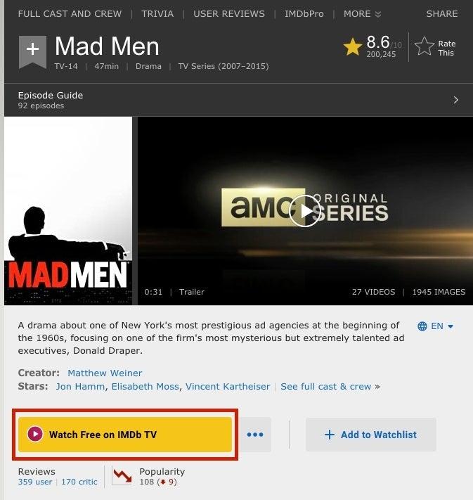 IMDb TV Mad Men