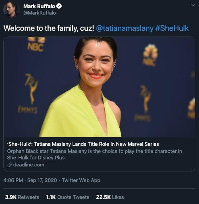 Marvel She Hulk Tatiana Maslany Mark Ruffalo Reaction Twitter