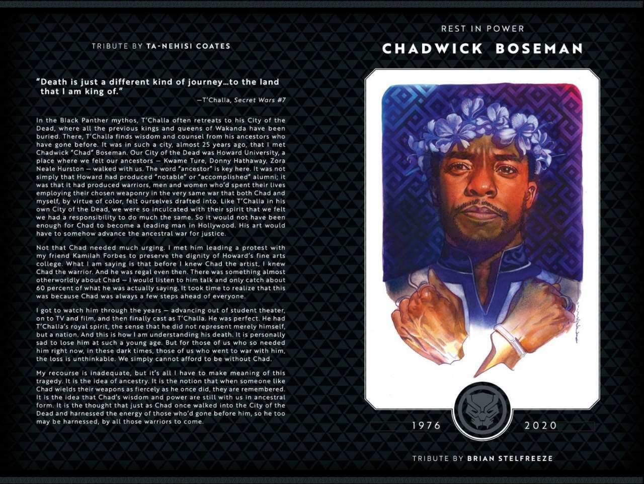 Ta-Nehisi Coates Chadwick Boseman Tribute Marvel Comics