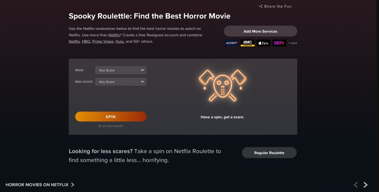 Halloween Horror Movie Roulette Streaming Game