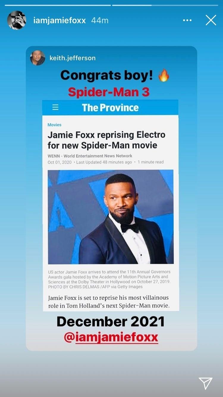 jamie foxx electro instagram story