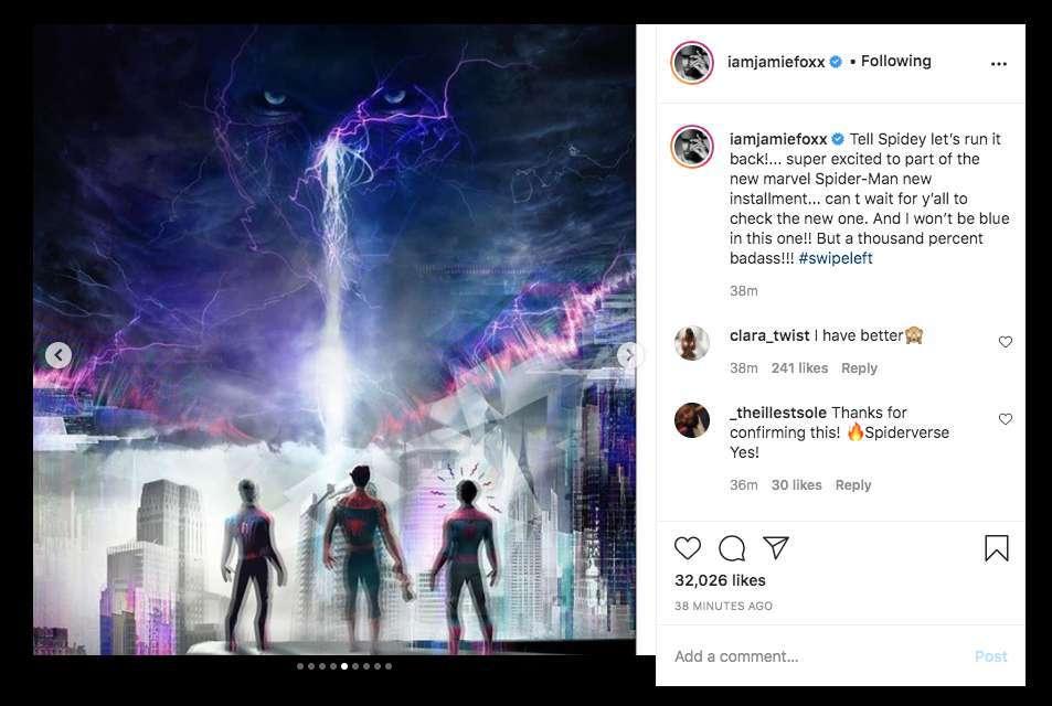 spider-man 3 jamie foxx instagram electro spider-verse