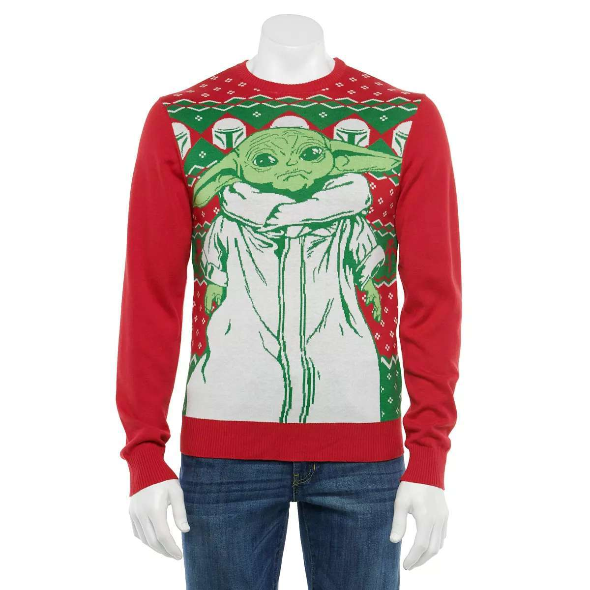 A truly ugly Baby Yoda Christmas sweater.