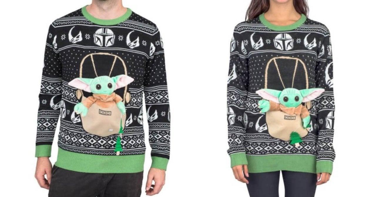 Baby Yoda plushies make a sweater cuter.