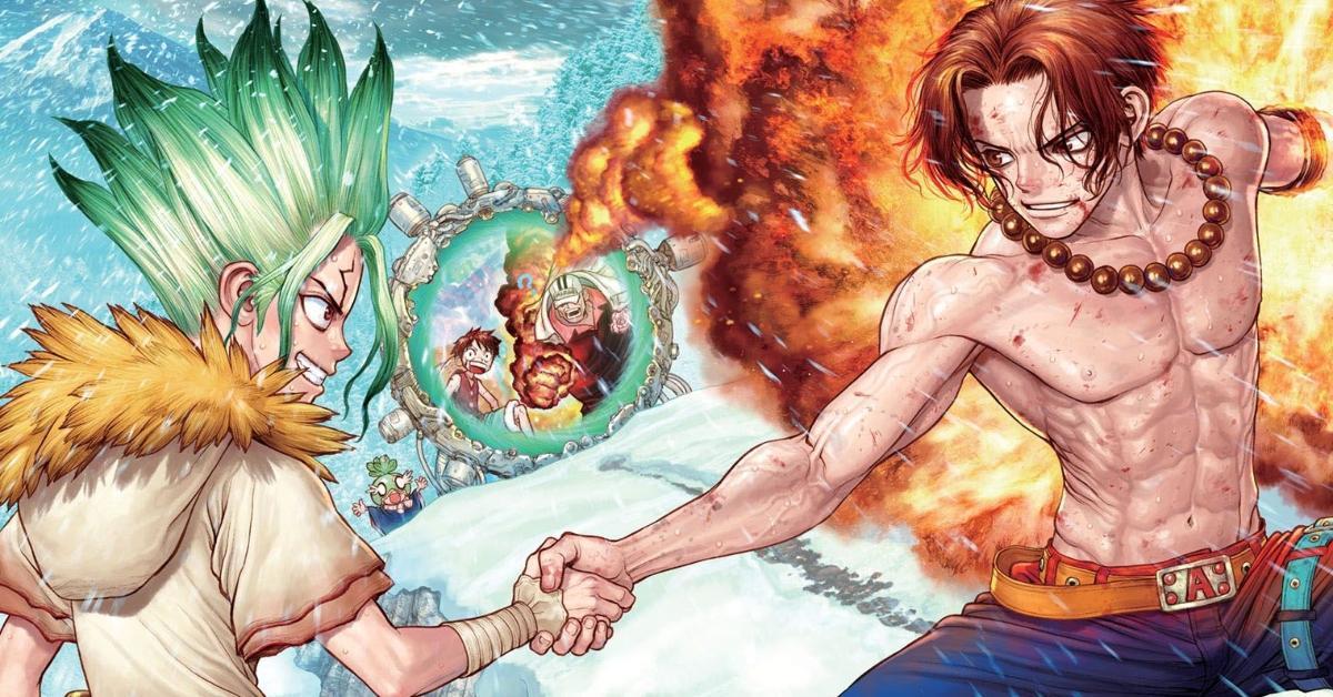 Dr Stone One Piece Crossover Cover Art Ace Senku Manga Boichi