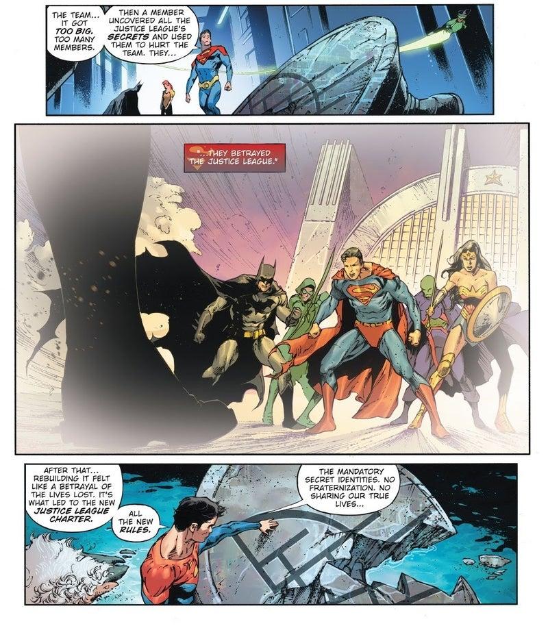 future state justice league 1 secret identities