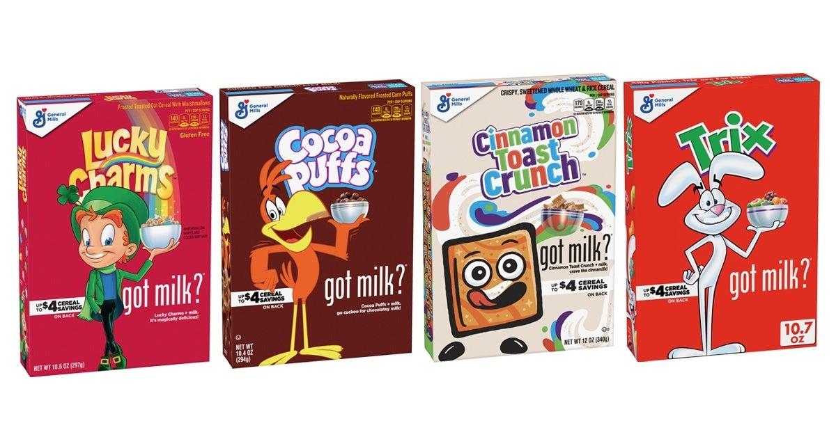 general mills milk mustache cereals