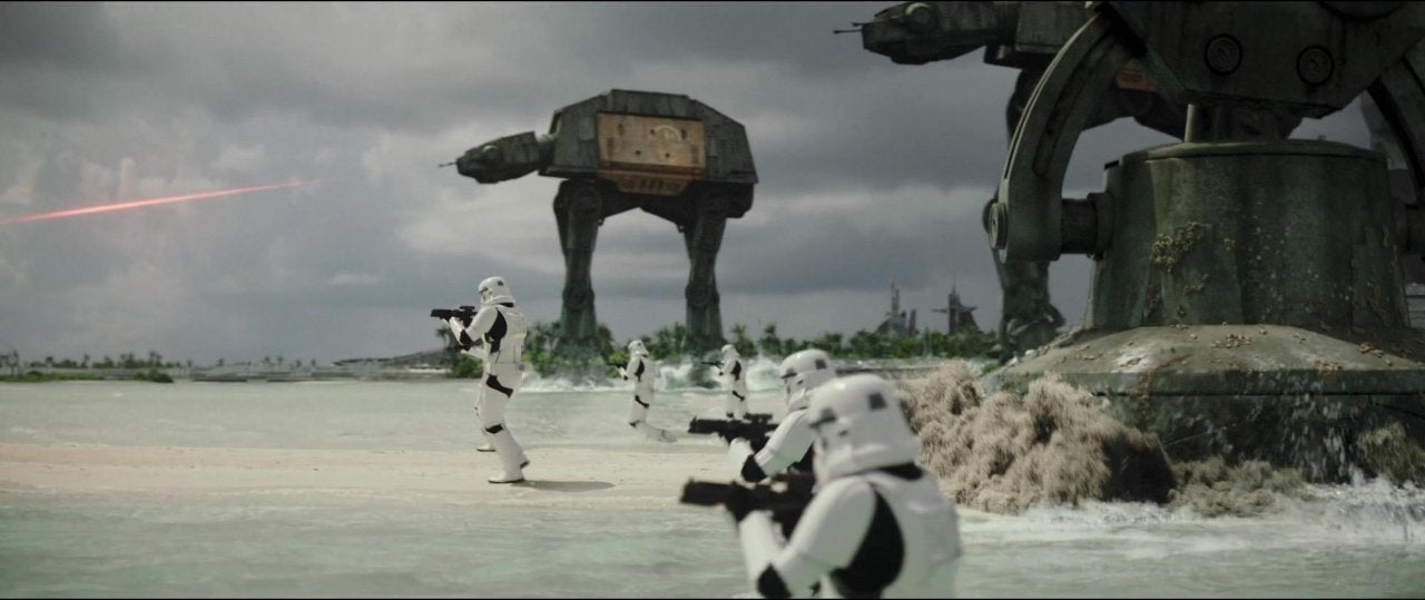 star wars rogue one at-at approach beach