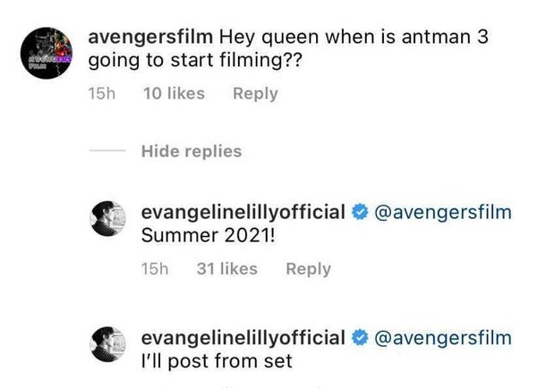 instagram evangeline lilly ant-man and the wasp quantumania