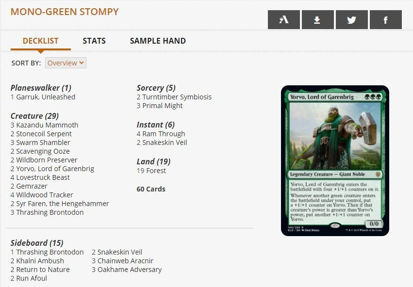 Mono Green Stompy Challenger Deck 2021