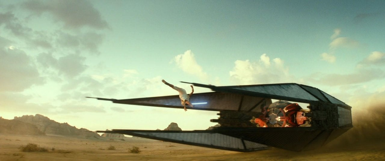 star wars the rise of skywalker rey tie jump desert