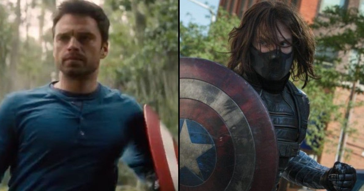 The Falcon And The WInter Soldier Super Bowl Trailer Bucky Holding Sheild