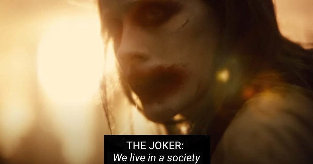 Zack Snyder's Justice League Joker We Live In A Society