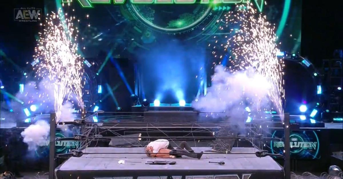 AEW Revolution Exploding Barbed Wire Deathmatch Explosion