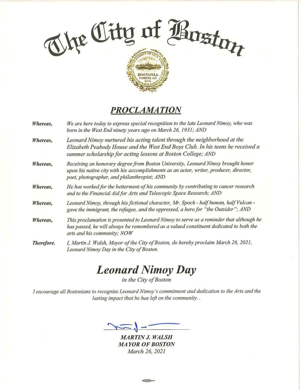Leonard Nimoy Day Proclamation