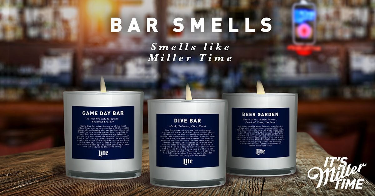 miller lite bar smells candles