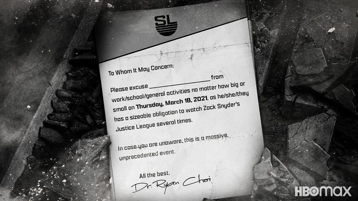 Zack Snyder's Justice League Ryan Choi Doctors Note Fans Release Day