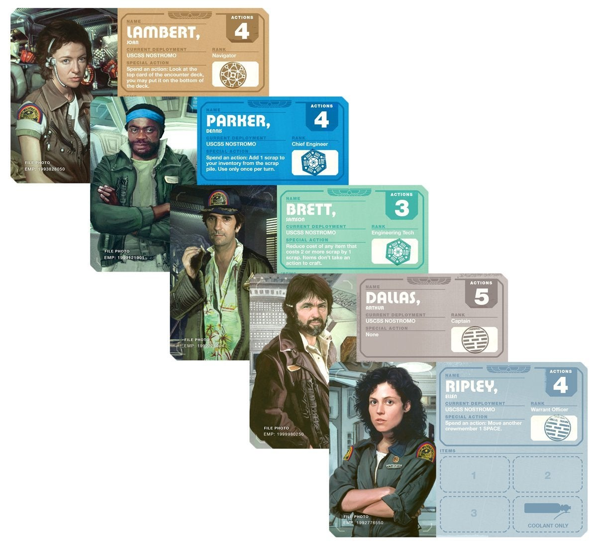 alien board game character cards