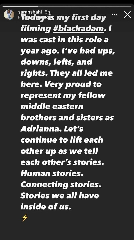 black adam sarah shahi instagram stories