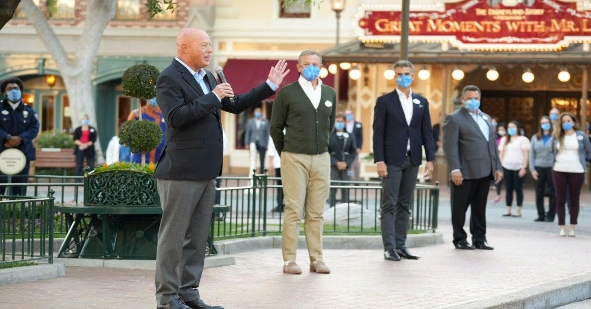 Disneyland Reopening BOb Chapek Bob Iger