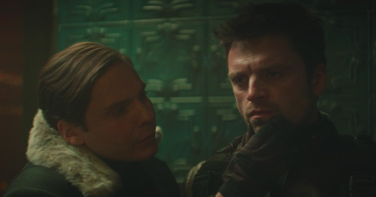 Falcon and Winter Soldier Daniel Bruhl Improvised Zemo Sebastian Stan Chin Scene